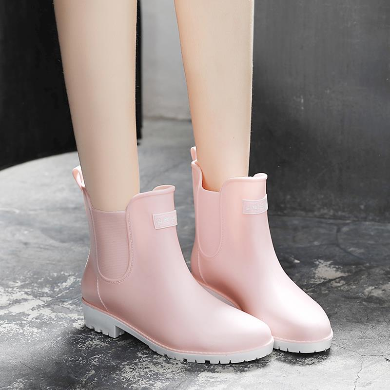 Women rain boots Summer/Autumn Slip on flat rain shoes woman waterproof rubber ankle boots 6h94 цена