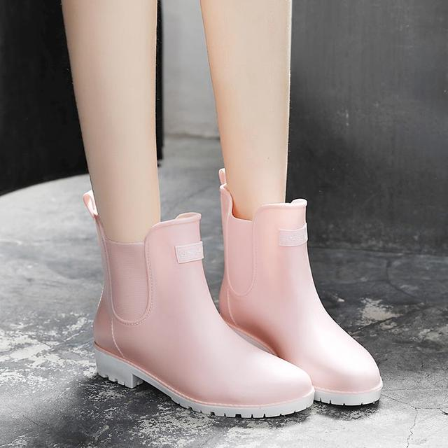 Women rain boots Summer/Autumn Slip on flat rain shoes woman waterproof rubber ankle boots 6h94