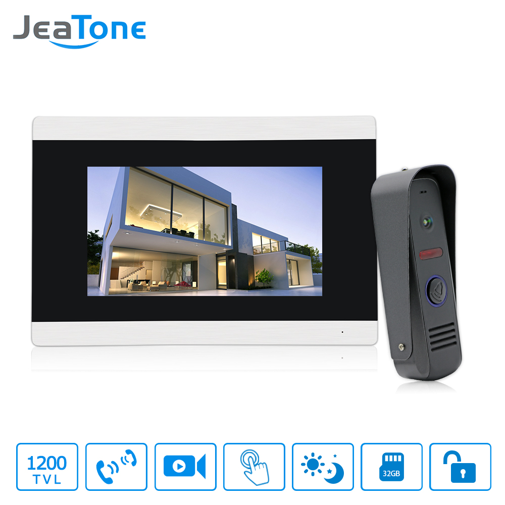 7 inch Touch Screen Video Door Phone Intercom System Door Intercom Waterproof Doorbell Call Panel Video Doorbell Free shipping wireless service call bell system popular in restaurant ce passed 433 92mhz full equipment watch pager 1 watch 7 call button