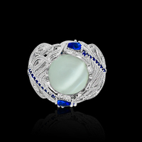 New Hot Blue Flower Moonstone Rings European Creative Vintage Ring Jewelry Woman Dropshipping 1