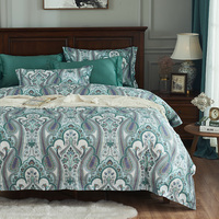 luxury 1000TC Egyptian 100%cotton Bedding Sets Queen King Size Chinese green Duvet Cover Sets Bed Sheets 4pcs bohemia bedspreads