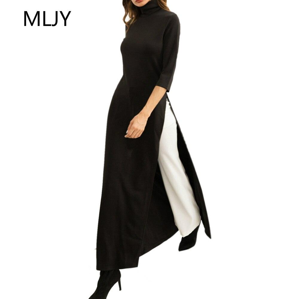 7bfbf2959c5 Detail Feedback Questions about New Women Fashion High Neck Casual Slim Split  Maxi Shirt Dress Fall 2018 Long Slit Dress on Aliexpress.com