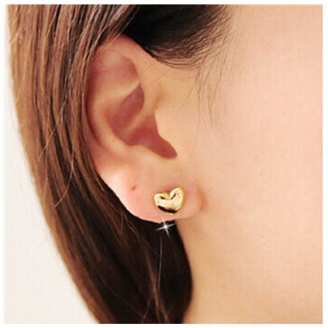 Ed159 Fashion Jewelry Small Love Heart Stud Earring Summer Fresh Simple Design Gold Color Tiny
