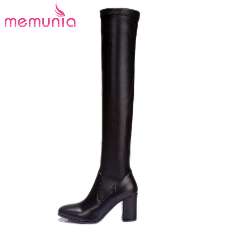 ФОТО fashion square toe winter boots for women thick high heel simple zip genuine leather high quality over the knee boots