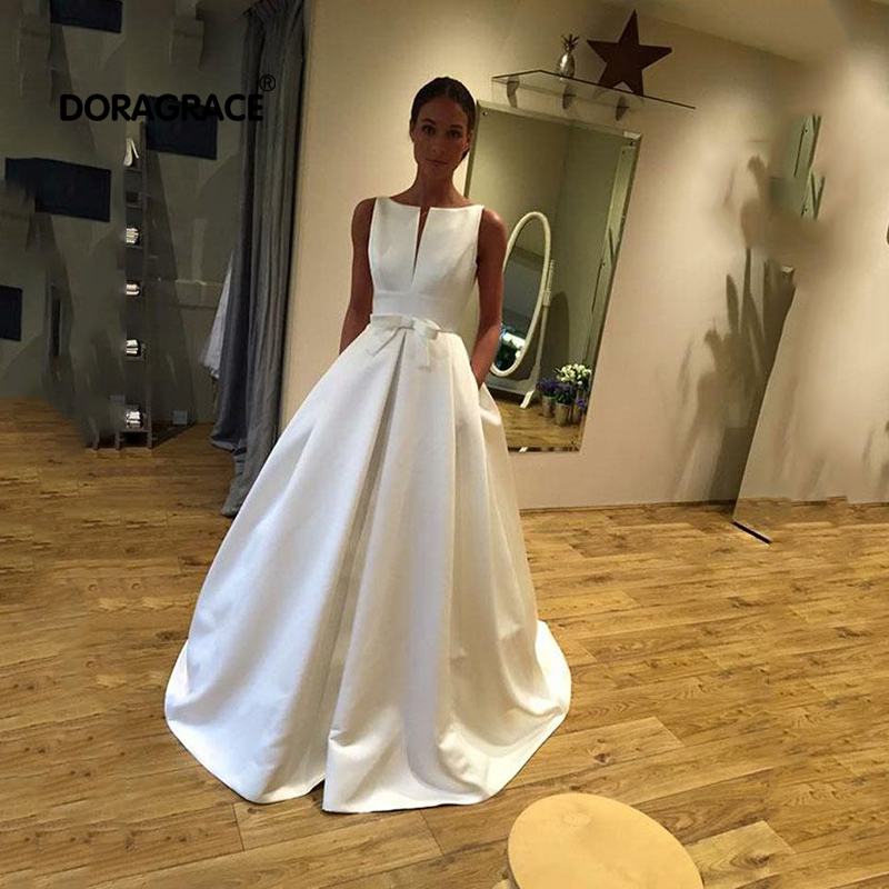 Robe de soirée Doragrace Simple élégante Satin blanc longue robe de bal robes de soirée