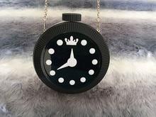 Personalisierte Acryl Uhr Umhängetasche Mini Kette Pack Uhr Gewickelt Tasche Kupplung frauen Party Tasche