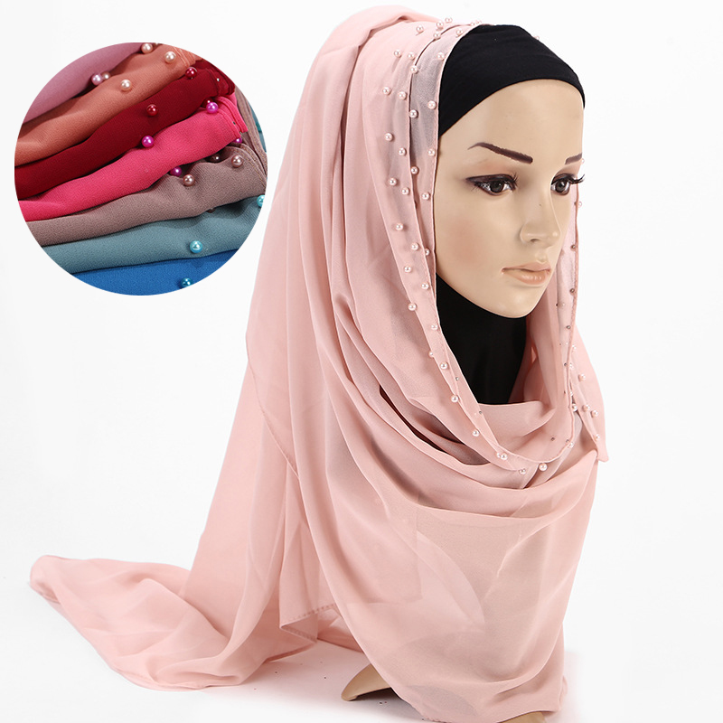 Fashion women Beaded Crystals Chiffon Pink scarf  hijab headcover wrap Non Slip