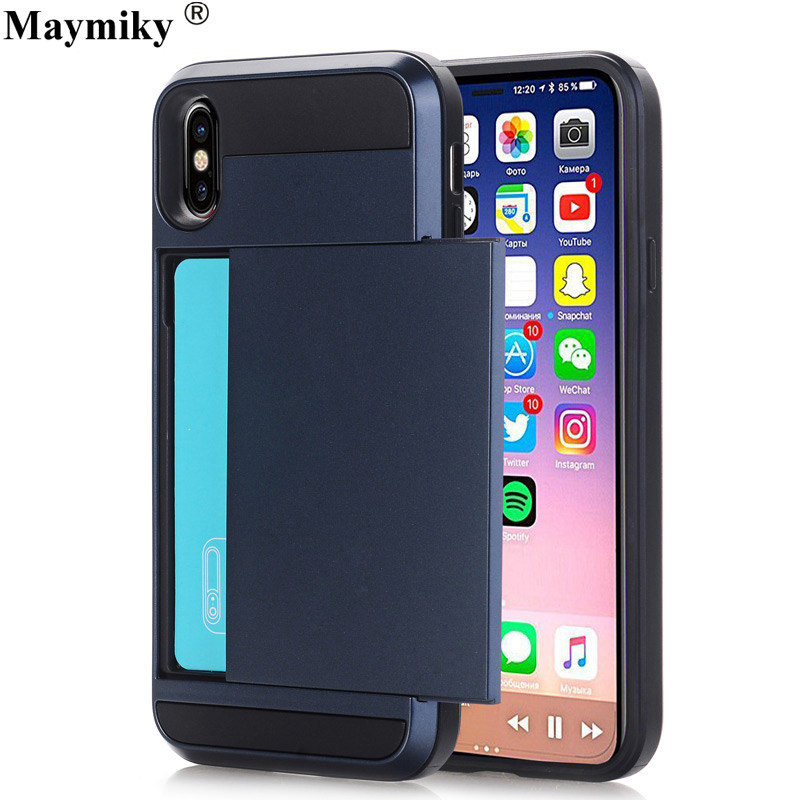 Case For apple iphone X 10 9 XS Plus Phone Cover PC + TPU Card Slot Cases For iphone 7 8 6 6S 5 SE Armor Case  Slide Card Shell visa