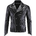 2016 Mens Winter Studded Leather Jacket Men Faux Fur Coat 5XL Men Motorcycle Skull Slim Fit Leather Jacket for Men Suede Jacket