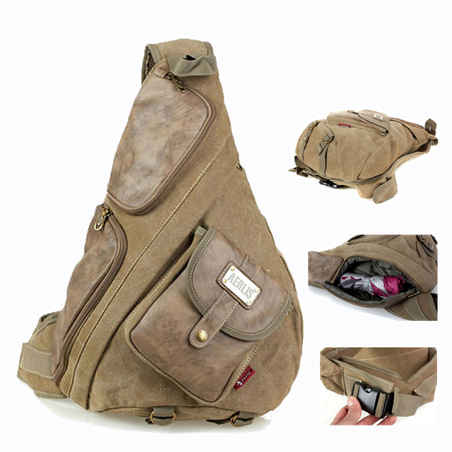 Vintage Items Canvas And Leather Chest Bag Sling Tactical One Single Shoulder Messenger Book Bags