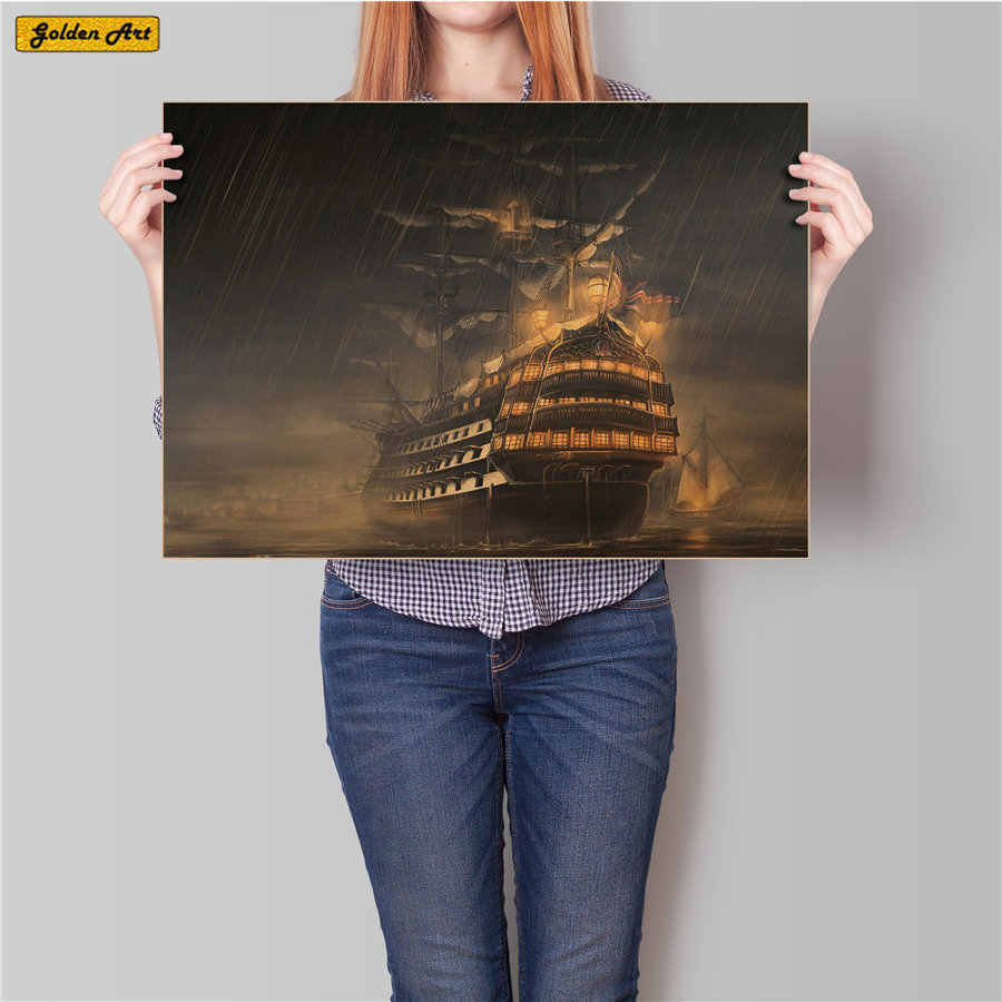 Sailing boat in the storm Vintage kraft paper poster Classic character retro wall art painting wallpaper cafe bar 45.5x31.5cm