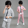 2016 Gentleman Boy Clothing Set Stripe Triangle Pattern Kid Blazer + Pants Children Clothes Suit Two Piece For Wedding Party