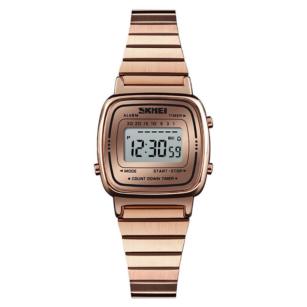 Luxury Brand Fashion Women LED Digital Countdown Alarm Luminous Waterproof Ladies Stainless Steel Bracelet Wrist Watch Clock