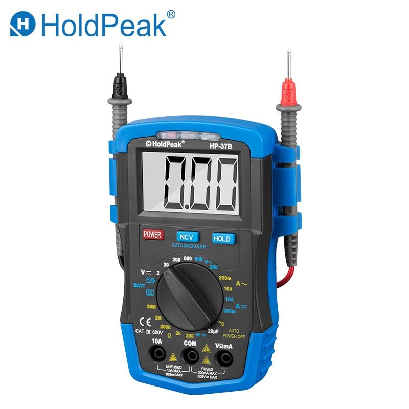 HoldPeak HP 37B Digital Multimeter Resistance Capacitance Temperature Meter Voltmeter Ammeter AC DC Testing Battery Tester