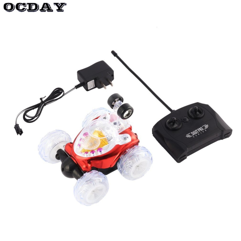 OCDAY Stunt Car with Light Music RC Car Electric Remote Control Toy Dancing Dump Car Dumper Rolling Rotating Wheel Vehicle Truck