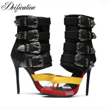 Deification Sexy Mixed Colors Sandals Women Zapatos de mujer Chic Big Buckles Party Shoes Thin High Heels Gladiator Sandal Woman