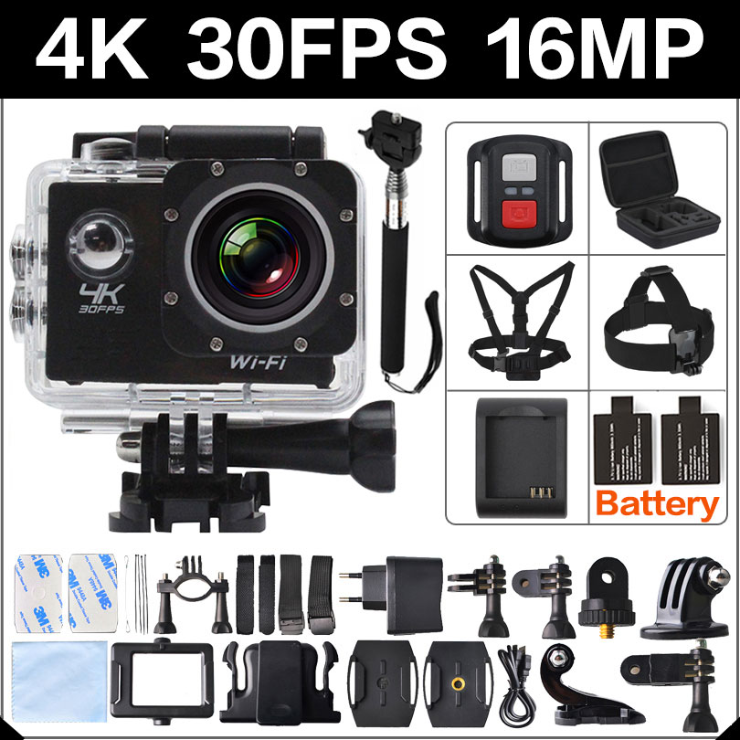 Prix pour 4 K 30FPS 16MP WIFI Camera Action 2 Sport HD 1080 P 60fps Cam sous-marine deportiva aller étanche yi 4 k 170d 3 pro hero sport Cam