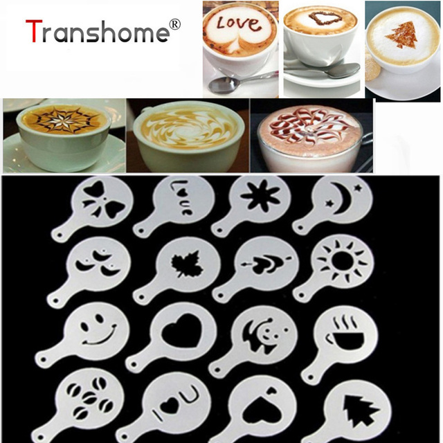 16pcs Lots Coffee Latte Mold Fancy Cuccino Cake Cookie Stencil Template Decor Barista Duster Art