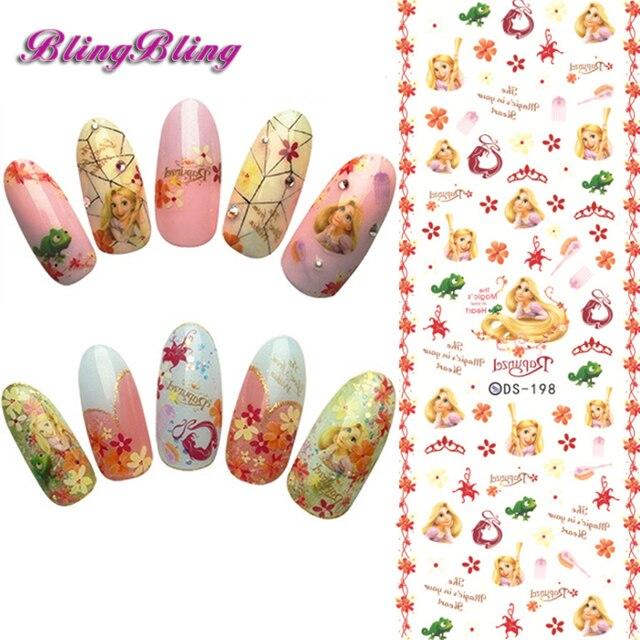 Blingbling 2sheet Water Decals Beauty Nails Art Sticker Princess