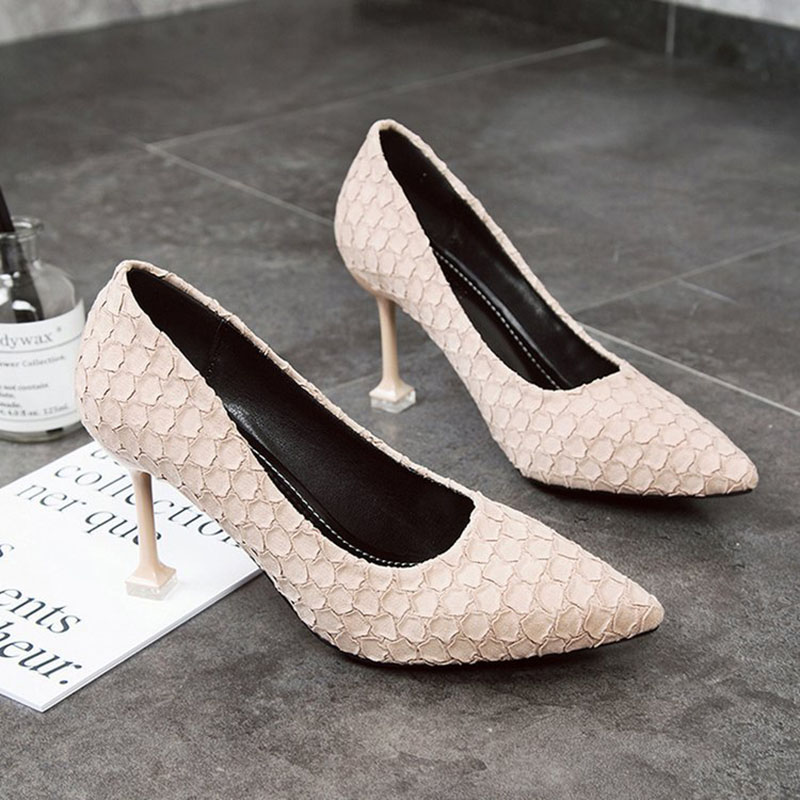 2018 Spring High-Heeled Shoes New Style Shoes Woman Fashion Shallow Pointed Toe Slip-On Thin Heels 4 Colors Tide Sexy Concise egonery shoes 2017 new arrival europe and america party pointed toe sexy ladie shoes elegant square high heels concise shallow