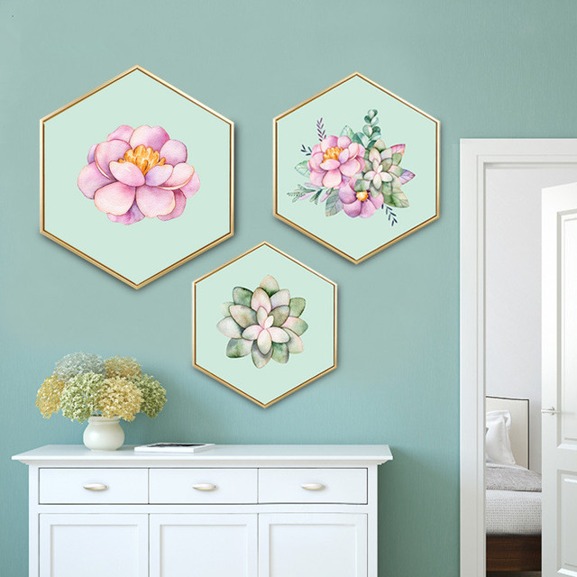 Nordic Style Decorative Paintings Hexagon Mural With Frame Creative Simple  And Modern Bedroom Decoration Unicorn Paintings