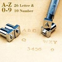 DIY кожа дыроколы для кожи Письмо штамп инструмент прописные буквы 26 Алфавит Кожа ремесло штампы рабочее седло 3,5-7 мм