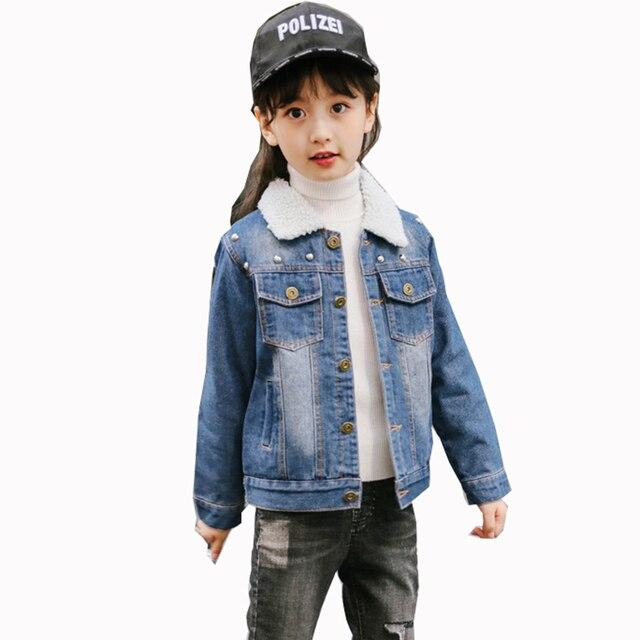 Baby Girls Winter Fleece Thick Rivet Denim Jackets Coats For Girls Children Clothes Turn-down Design Jeans Outwear Coat Jacket