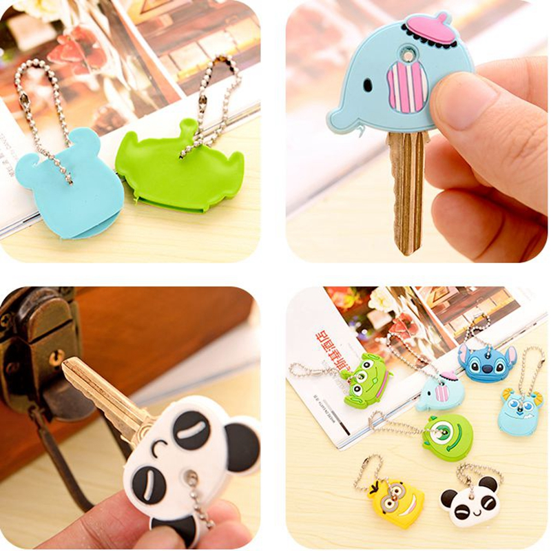 Novelty Kawaii Cute Cartoon Animal Minions Silicone Car Key Caps Covers Holder Keychain Case Shell Keyring Sets Toy Action