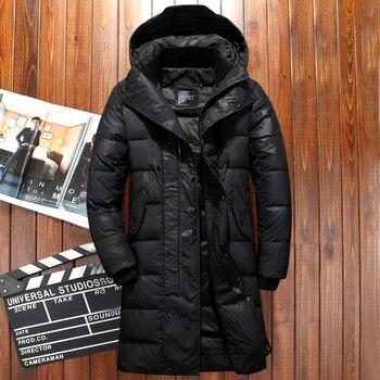 -30 degrés russie veste d'hiver pour hommes extra épais coupe-vent long manteau hommes camouflage hommes blanc canard doudoune manteau de neige