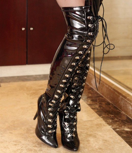 12cm front strap slim stretch sexy high-heeled patent leather boots big size 5-13 -matte black
