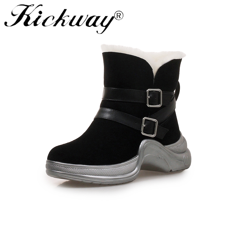 Kickway Flat Platform Women Snow Boots Waterproof Winter Shearling Warm Shoes Casual Real Fur Boots Female Plus Size Shoes 34-40 цена