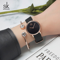 Shengke Women Bracelet Watch Top Brand Black Nylon Strap Quartz Watch Ladies Wristwatch 2018 SK Luxury