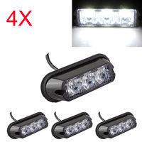 4x 3w led auto vrachtwagen nood strobe flash lamp wit licht dc 12-24v waterdicht