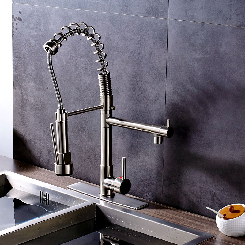где купить Uythner Brushed Nickel Deck Mounted Kitchen Faucet Mixer Tap with Cover Plate Factory Direct Sale дешево