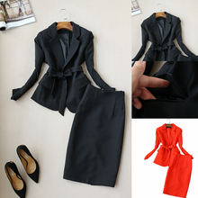 Autumn and winter new womens long sleeve professional suit fashion temperament Slim jacket + skirt elegant two-piece