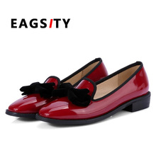 British style loafers Women shoes lady round toe slip on bowtie knot casual shoes wine red fashion oxford size 34 to 42