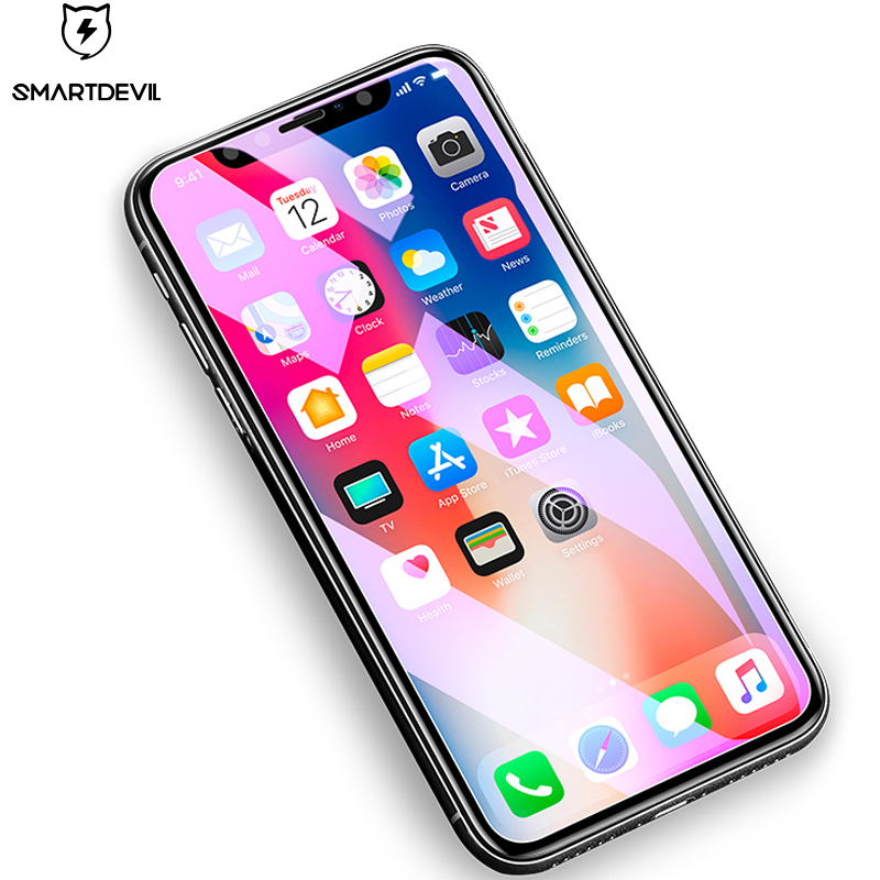 SmartDevil Screen Protector for iphone X Mobile Phone Anti-Blue Light Tempered Glass Front Protective 2.5D Toughened Film HD