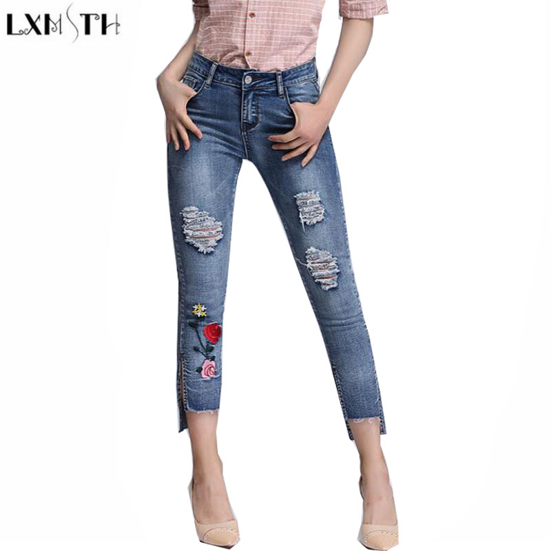 LXMSTH Sexy Pencil jeans Women 2017 Summer Plus Size Casual Ankle Length Slim Mid Waist Pencil Pants Hole ladies Ripped jeans rosicil new women jeans low waist stretch ankle length slim pencil pants fashion female jeans plus size jeans femme 2017 tsl049