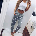 New Women Pentagram Pattern Casual Trousers ropa mujer Women Joggers Fitness Long Pants Grey Pink s m l