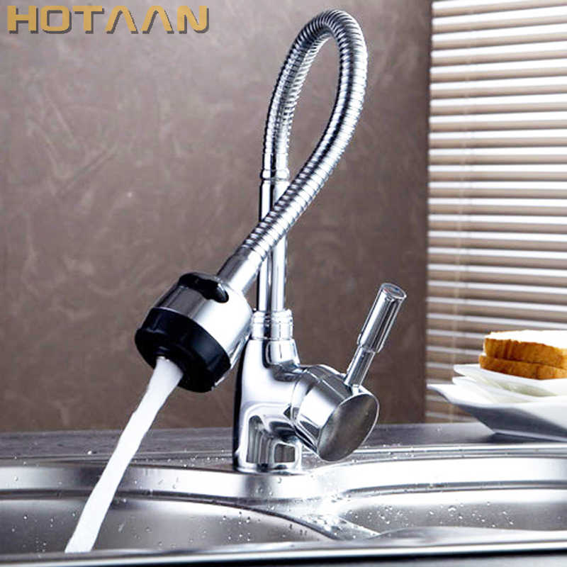 Free Shipping Solid Brass Kitchen Mixer Cold and Hot Kitchen Tap Single Hole Water Tap Kitchen Faucet torneira cozinha YT-6003