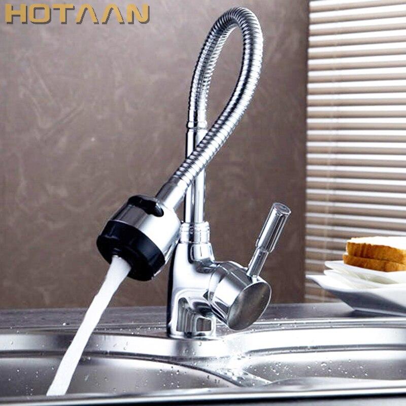 O envio gratuito de latão maciço misturador da cozinha quente e fria torneira da cozinha único furo água torneira da cozinha YT-6003