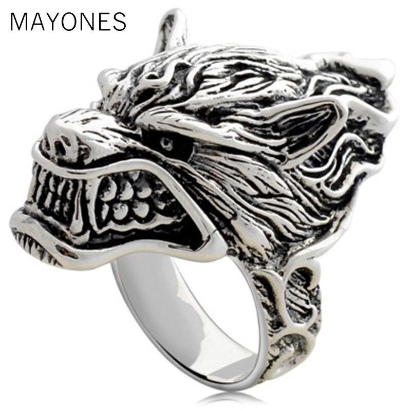 Vintage Punk homme anneaux réel 925 argent Sterling tête d'animal rétro loup Langtou anneau hommes en métal mode bijoux accessoires