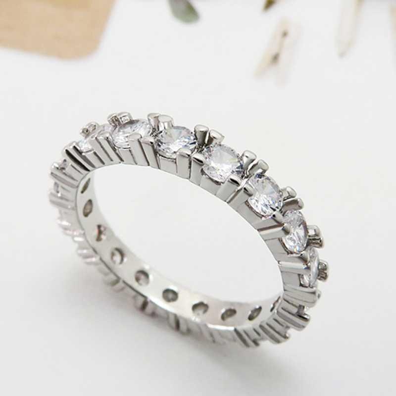 2018 marca de jóias cor branca embutir zircônia cúbica único anel em forma para o casamento feminino tamanho noivado