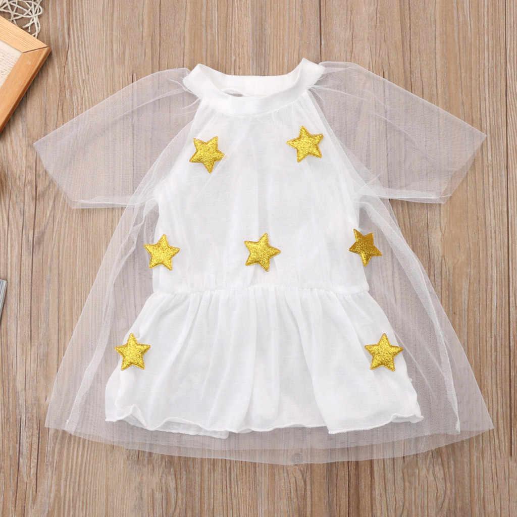 2019 Bady vestido de verano fiesta adolescente ropa de las niñas de manga corta princesa estrellas fiesta vestido de tul vestido de fiesta para Niños # d1