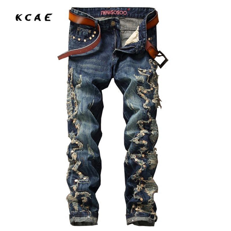 High Quality Hip Hop Embroidery Mens Jeans Slim Straight Holes Men Jeans Pants Rivet Denim Ripped Jeans For Men Size 30-36 2016 high quality mens jeans blue color printed jeans for men ripped button jeans casual pants quality cotton denim jeans