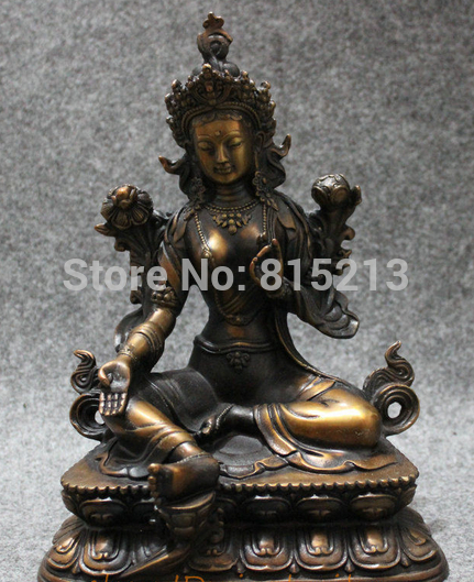 bi0011690 8 Old Tibet Bronze Copper Collect Lotus Green Tara Buddha Kwan-yin Statuebi0011690 8 Old Tibet Bronze Copper Collect Lotus Green Tara Buddha Kwan-yin Statue
