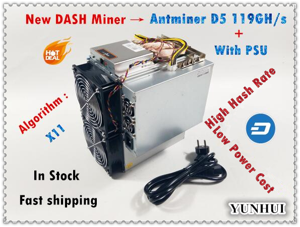 BITMAIN Veloce di trasporto libero Più Nuovo DASH Minatore Antminer D5 119GH/s Con Alimentazione X11 Minatore Meglio di D3 S9 z9 Mini WhatsMiner M3X