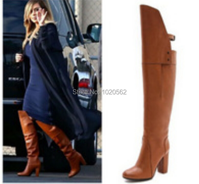 33b13e4f710 Plus Size 35-45 Women Over Knee Boots Black Tan Colors Women Autumn Winter  Leather Thick High Heels Motorcycle Boots Cheap Price