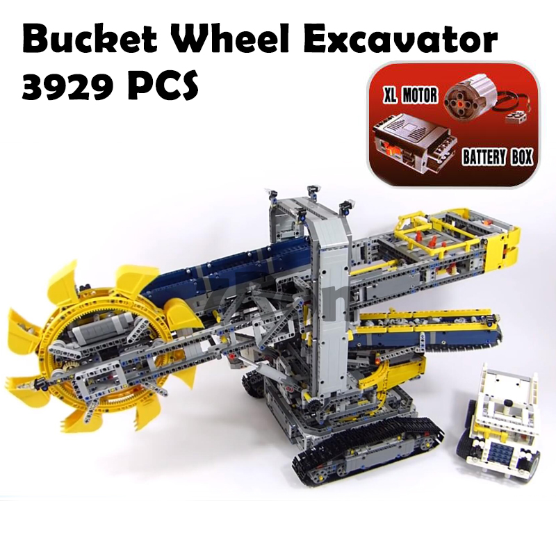 Compatible With lego Technic 42055 Model building toys hobbies 20015 3929Pcs Bucket Wheel Excavator assemble Blocks Brick 196pcs building blocks urban engineering team excavator modeling design