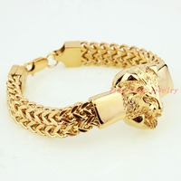 Free shipping Gold Lion Head 316l Stainless Steel Fashion Figaro chain Bracelet Women Men's Bangle Jewelry 15mm 8.66''